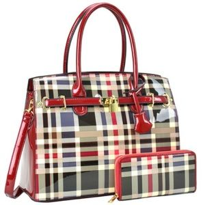 Plaid Design Patent Leather Medium Satchel